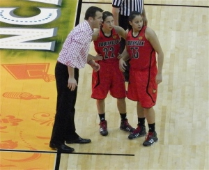 Louisville Coach Jeff Walz with the Shimmel sisters