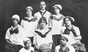 "The ""New York Girls"" basketball team of New York City, circa 1911, was the sister organization of the Alpha Physical Culture Club of Harlem."